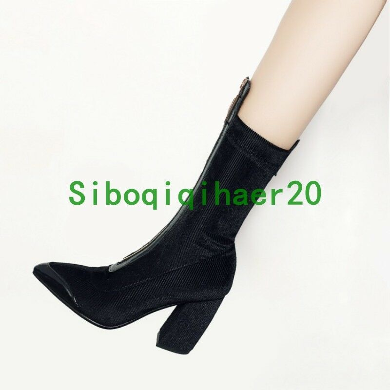 Fashion Donna Pointy Toe Block Zip Heel Zip Block Runway Mid Calf Stivali Corduroy Shoes S 686a69