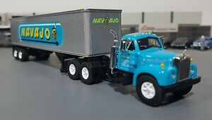 1-64-VINTAGE-B-MODEL-MACK-NAJAVO-AND-TRAILER-DIECAST-MADE-BY-FIRST-GEAR-IN-BOX