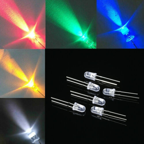 1000pcs 5mm Red//Green//Blue//Yellow//White Round Water Clear LED Light A7M3