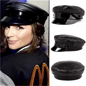 Women s Fashion Genuine Leather Black Beret Military Cap Casual Flat ... 051cc80492a