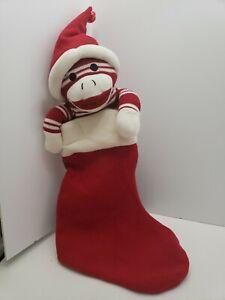 Sock-Monkey-Christmas-Stocking-Plush-Stuffed-Animal-Red-and-White-24-034-Bell