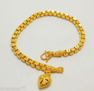 Chain Gold Plated Bracelet Drop Heart 22K 23K 24K Thai Baht Yellow