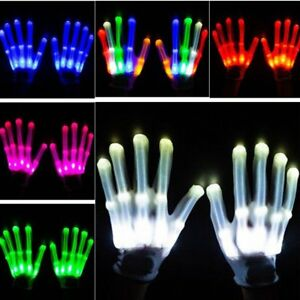 LED-Finger-Flashing-GlovesPair-Electro-White-Halloween-Xmas-Dance-Rave-Party