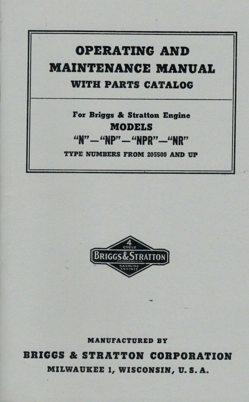 Briggs Stratton Operating Maintenance Manual Models N Np Npr Nr Gas And Engine Diagram Parts List For Norton Secured Powered By Verisign