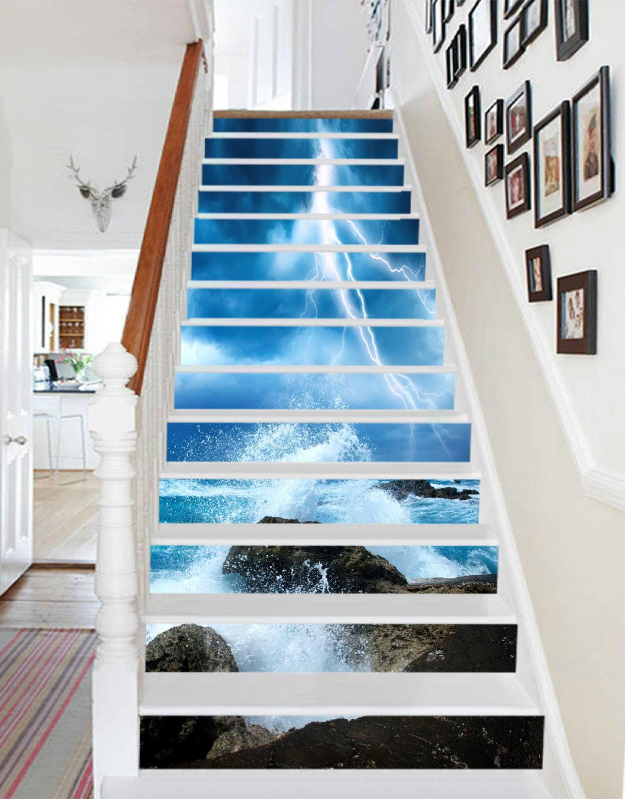 3D Die Wellen 46 Stair Risers Dekoration Fototapete Vinyl Aufkleber Tapete DE