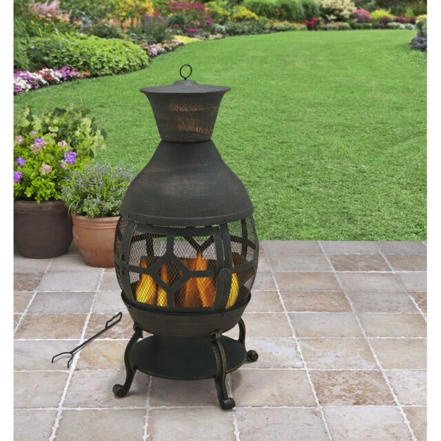 Chiminea Fireplace Cast Iron Outdoor Fire Pit Patio Heater Antique Wood Burning