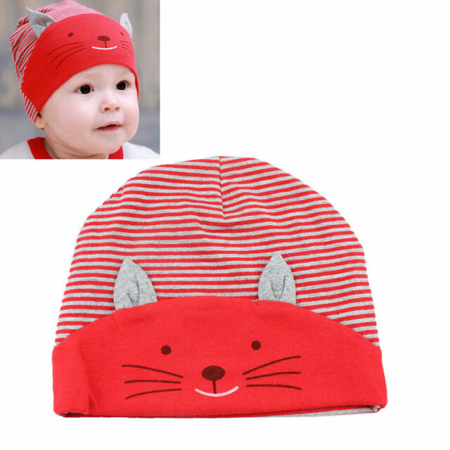 New Cute Cotton Baby Cat Stripe Beanie Boys Girls Hat Infant Newborn Kids Cap