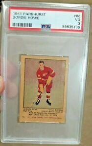 GORDIE HOWE 1951 PARKHURST HOCKEY ROOKIE CARD PSA VG 3 RARE ROOKIE CARD $$$