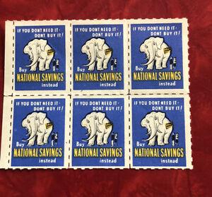 Pane Of 6 Vintage Cinderella Stamps National Savings