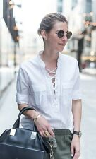 NWT Madewell by J Crew Terrace Lace Up White Shirt Blouse, #F0772 size XS