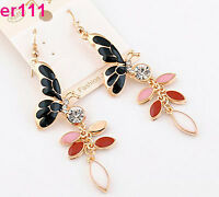 Fine 14K Gold Plated Crystal butterfly Earring er111