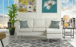 Details about Modern Bonded Leather Sectional Sofa - Small Space  Configurable Couch - White