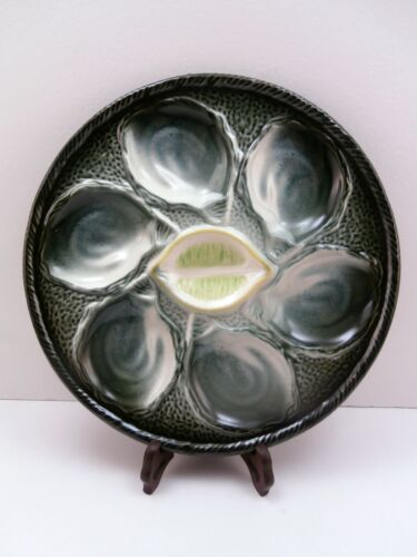 VINTAGE OYSTER PLATE FRANCE FAIENCE S MAJOLICA  6 WELLS  EX COND GREEN