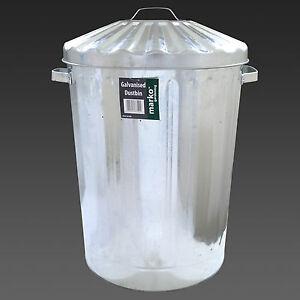 Image is loading 90L-Galvanised-Metal-Bin-Trash-Rubbish-Steel-Bin- & 90L Galvanised Metal Bin Trash Rubbish Steel Bin Outdoor Animal Feed ...