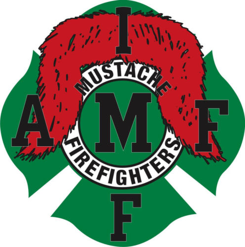 Red Mustache Maltese Sticker Decal Firefighter Decal Various Sizes