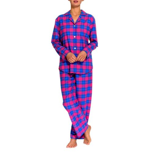 Pyjama Two British Flannel Women's fold Pinktartan Boxers Set q8HYA
