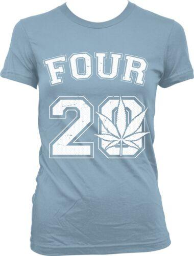 Four 20 420 Pot Leaf Weed Marijuana Ganja High Toke Smoke Puff Juniors T-shirt