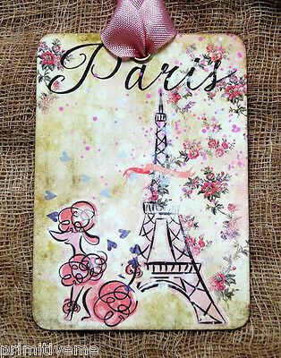 Hang Tags  FRENCH PARIS EIFFEL TOWER POODLE TAGS or MAGNET#381  Gift Tags