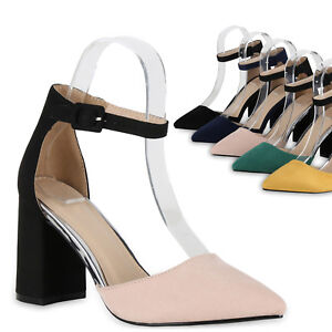 Details zu Damen Spitze Pumps Chunky High Heels Blockabsatz Party Schuhe 826011 Trendy