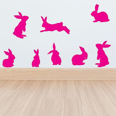 Set of 8 Rabbits Wall Stickers Decal Childs Kids Vinyl Art Girls Decor bunnies