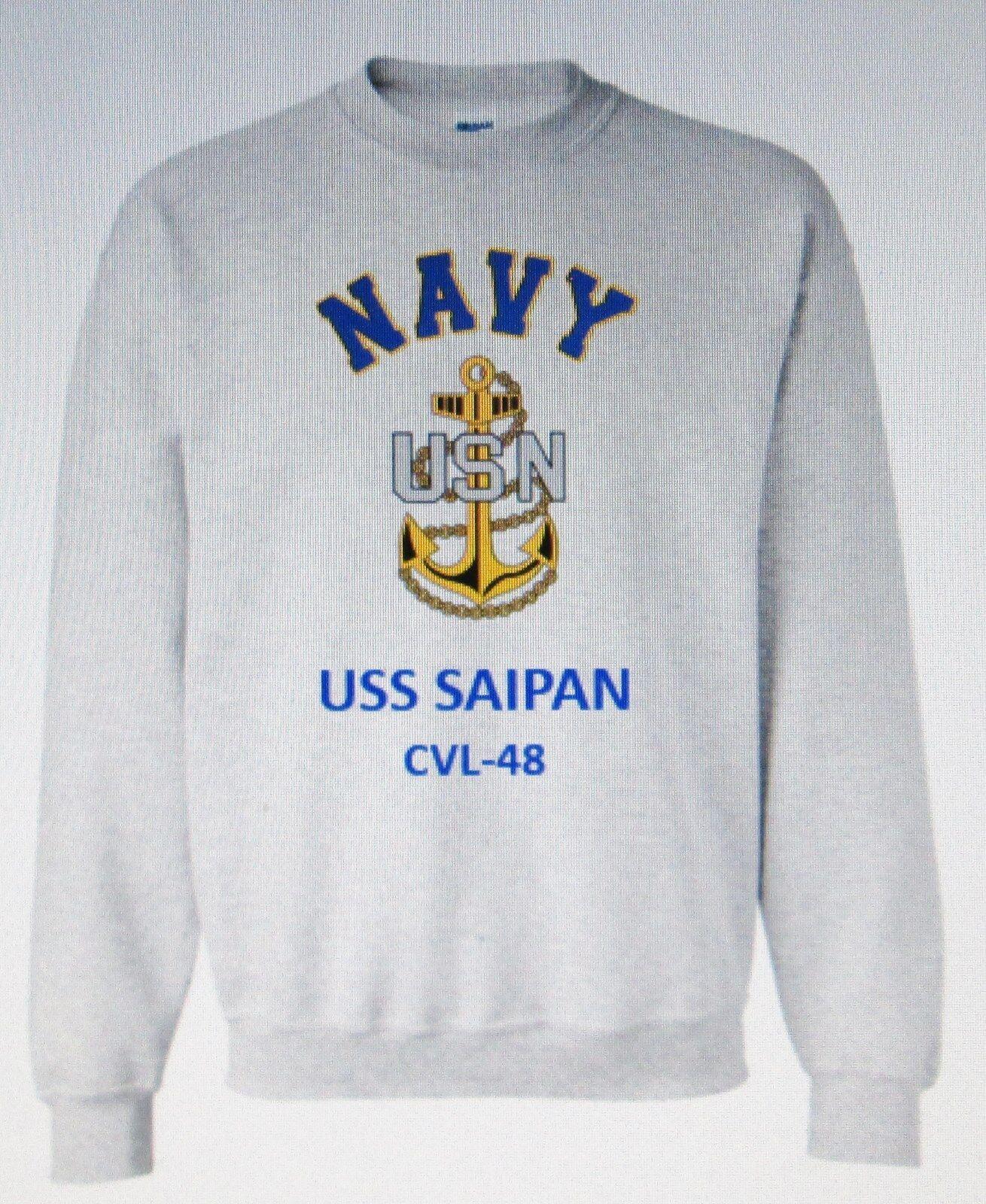 USS MIDWAY  NAVY CV CVA-41 AIRCRAFT CARRIER NAVY  ANCHOR EMBLEM SWEATSHIRT b072ed