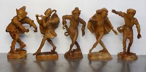 Altere-Holzgeschnitzte-Sculptur-5x-Moriskentaenzer-Morisken-Taenzer-Figuren-30cm