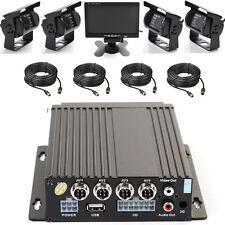 """4CH Auto Bus IR Beweglicher DVR SD Karten Recorder+4 Kamera+Kabel+7"""" LCD Schirm"""