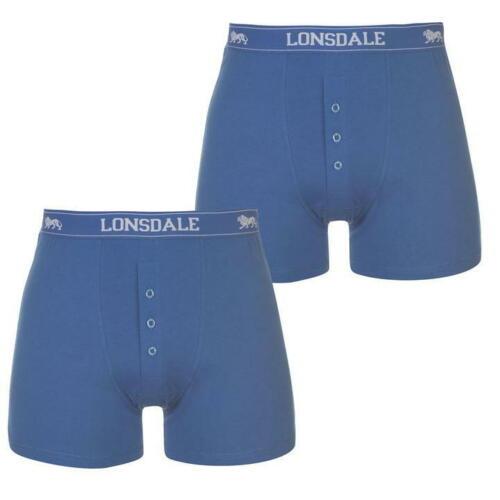 Da Uomo Blu 2 Pack Lonsdale Boxer Shorts Intimo