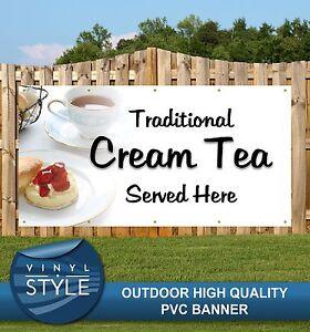 CREAM TEA SERVED HERE PUB RESTAURANT CAFE PVC BANNER PROMOTIONAL VARIOUS SIZES