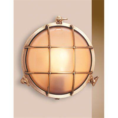 Applique lampada parete in ottone brunito con campana stile lume nautico /'700