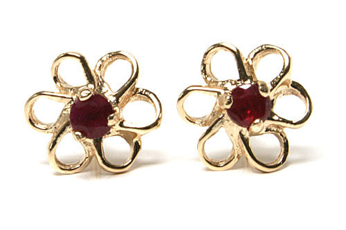 9ct gold Ruby Daisy Studs earrings Gift Boxed Made in UK Birthday Gift