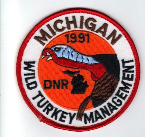 1991 MICHIGAN DNR SUCCESSFUL TURKEY HUNTER PATCH DEER-BEAR-ELK-MOOSE-FISHING