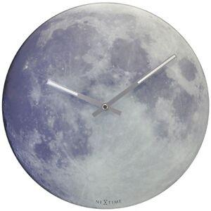 Nextime-Blue-Moon-Horloge-murale-verre-30-cm-Zeiger-Fluorescent