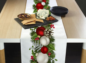 Details About Christmas Garland Border Table Runners 12 X 72 Or 14 X 108