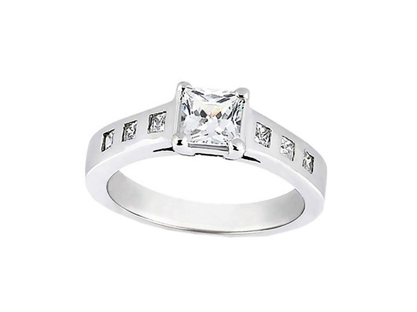 Natural 0.75Ct Princess Cut Diamond Engagement Ring Bezel Accents 10k gold KL I1