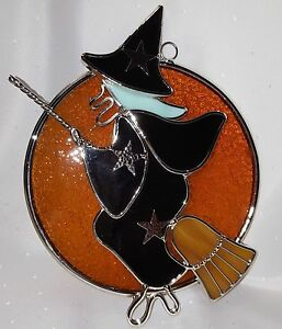 Stained Glass Halloween Witch in Moon Suncatcher   eBay