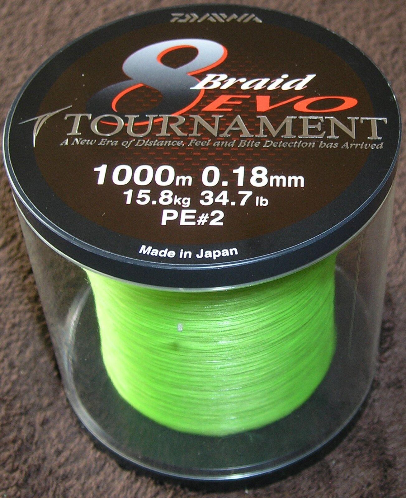 Daiwa EVO TournaSiet 8 Braid 1000-m Spool 0,18 MM 15,8 KG-Chartreuse-NEW