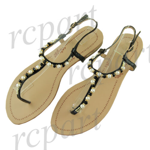 New women/'s sandal flat t strap buckle beads pearls summer comfort casual black