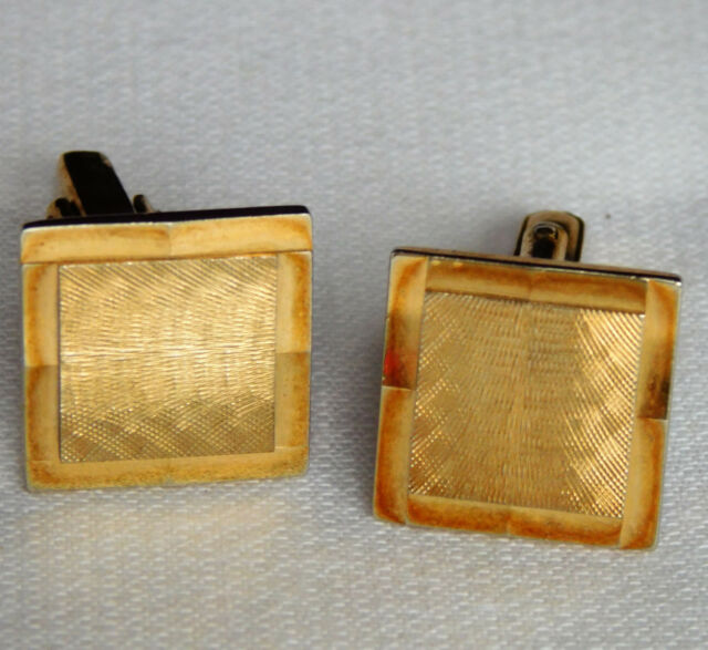Mens vintage cufflinks with cut pattern Square goldtone 1980s 1990s