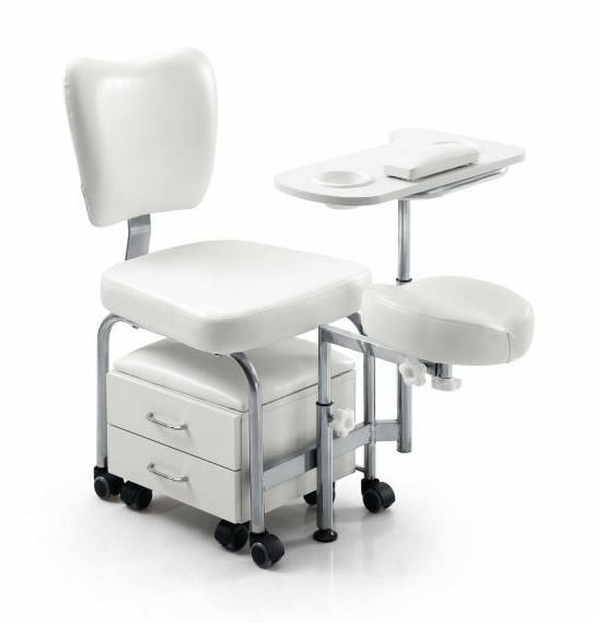 Pedicure Stool With Drawers Footrest Shaped Cone