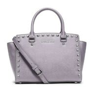 Michael Kors Selma Stud Top Zip Medium Satchel Lilac Saffiano Leather