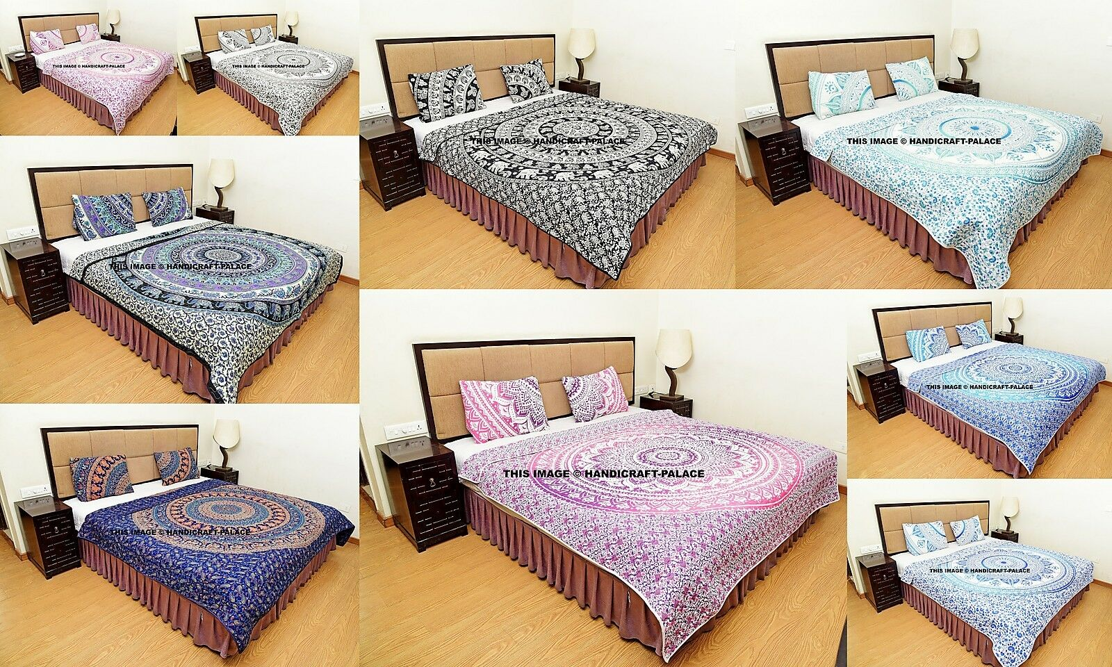 Indian Mandala Duvet Doona with Pillow Case Quilt Quilted Kantha Bedding Hippie