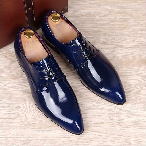 British Style Mens Oxfords Business Formal Dress shoes Patent Leather Lace up