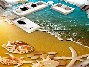 3D golden Sea Beach 5 Floor WallPaper Murals Wall Print 5D AJ WALLPAPER UK Lemon