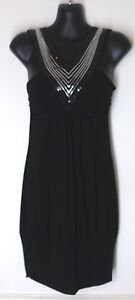 Sleeveless-silver-sequin-black-V-neck-Dress-SMALL-by-Lipstick