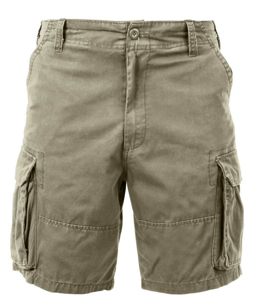 Shorts khaki tan cargo washed vintage look military style mens redhco 2170