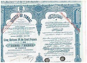 Societe-du-Tombac-Constantinople-1898-5x-actions-A-de-100-Fr-nice