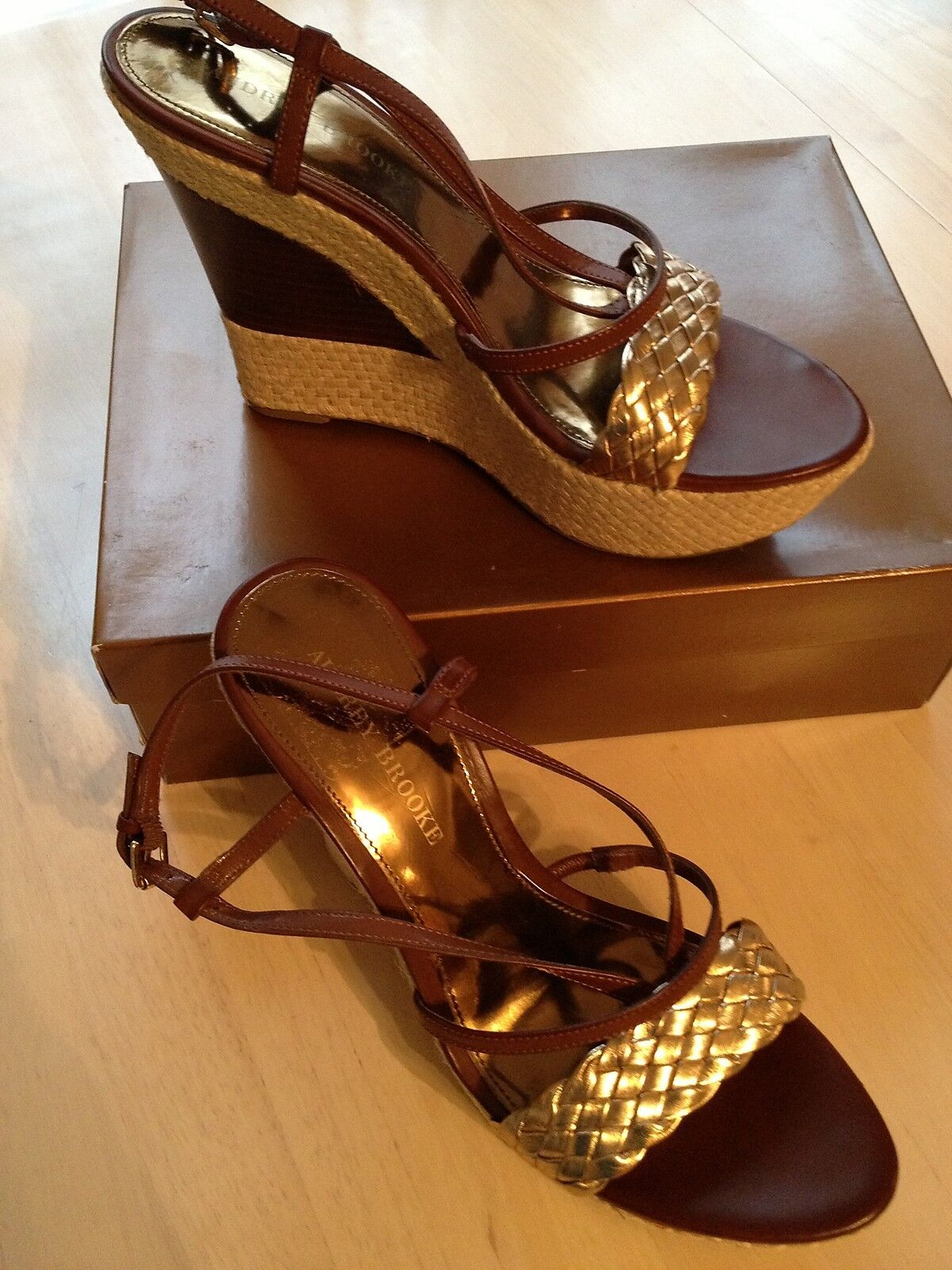 Audrey Brooke Women's shoes Shake Brown Wedge shoes Size 9.5 NWB