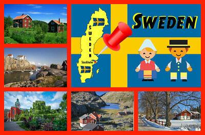 Sweden Souvenir Novelty Fridge Magnet Sights Flag Map New Gifts Ebay