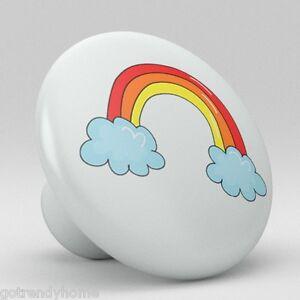 Cute Rainbow Ceramic Knobs Nursery Pulls Kitchen Drawer